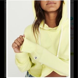 Abercrombie and Fitch Yellow Crop Hoodie